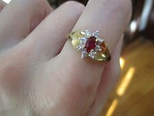 10K Gold Ruby and Diamond Ring, Size 6.75