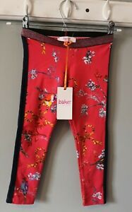 Girl Clothes Designer TED BAKER Floral Birds Leggings Trousers Age 4-5 Years Red
