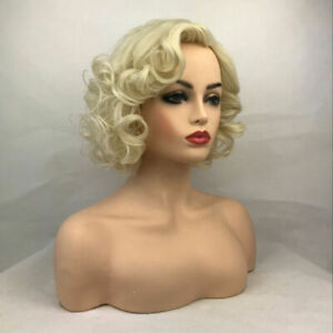 Women Wig Ladies Short Curly Daily Light Blonde Gold Natural Synthetic Wigs