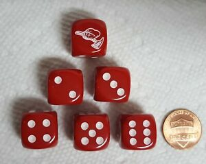Dice - (6) Firefighter Ax & Helmet as #1 on 16mm OP Red w/White design and Pips