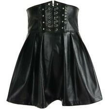 Women Gothic Steampunk Flared Skirt Corset Faux Leather Retro Punk Club Faddish