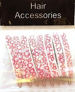 8 x PINK Retro Vintage Hair Accessories Snap Hair Clips Slides Hair Grip PINK