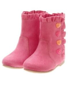 GYMBOREE PANDA ACADEMY PINK BUTTON SUEDE BOOTIES 03 10 NWT-OT