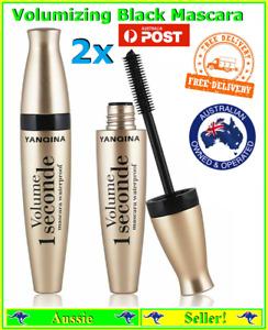 2x Black Fiber Lengthens Thickens Eyelashes Mascara Waterproof Makeup Cosmetic