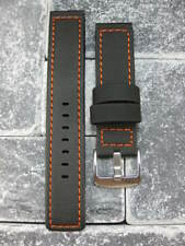 24mm PVC Rubber Band Black Diver Watch Strap Kevlar Fabric Maratac1 Orange XL L