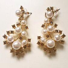 Signed Oscar de la Renta Multi Clear Crystal White Pearl Stem Earrings