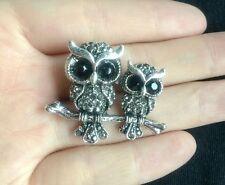 Jewelry Beautiful Silver Clear Rhinestone Crystal owl Brooch wedding women pin