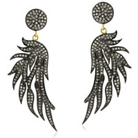 Vintage 2.46ct Pave Diamond 925 Sterling Silver Feather Dangle Earrings 14k Gold