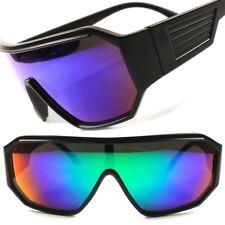 Retro Futuristic Party Rave Sci-Fi Green Mirrored Lens Wrap Shield Sun Glasses