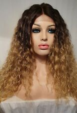 Blonde Wavy Human Hair Wig Lace Front Long Dark Roots Perm Curly Big Hair