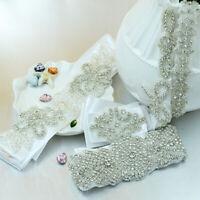 New White/Ivory Bridal Wedding Dress Rhinestone Vintage Beaded Crystal Sash Belt