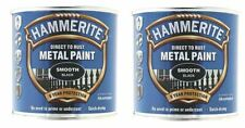 Hammerite Smooth Black Direct To Rust Paint For Metal Restore 250ml x 2