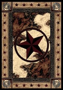 """Ranger Hideout Western Lone Star Country Cabin Rustic Nylon Rug 3'10"""" x 5'4"""""""