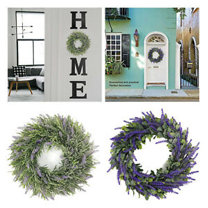 Artificial Lavender Wreath Green Leaves Garland for Front Door Decorations