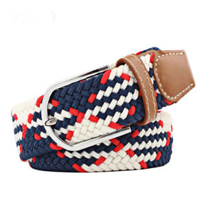 Braided Elastic Belt Stretch Woven Belt for Jeans Unisex Casual Steel Buckle