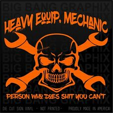 Heavy Equipment Mechanic Decal Sticker Vinyl Die Cut Car...