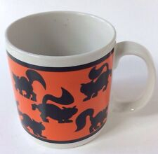 Black Cat Ceramic Coffee Mug Halloween Orange