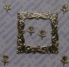 93016            Gold Plated Frame W-Mini  Rose  Findings/Blister Card x 2