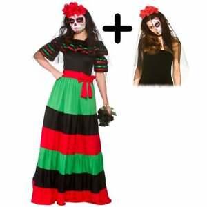 Ladies Mexican Day Of The Dead Senorita DRESS + ROSE VEIL Halloween Fancy Dress