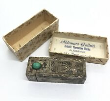 800 Silver Italy Engraved Floral Scroll Glass Cabochon Mirror Lipstick Case Vtg