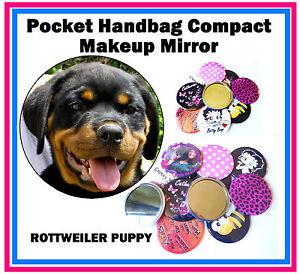 ROTTWEILER PUPPY - HANDBAG / POCKET MAKE-UP COMPACT MIRROR - BRAND NEW - GIFT