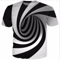 Hypnosis Swirl 3D Printed Men Women Short Sleeve T-Shirt Hip-Hop Tee Tops S-5XL