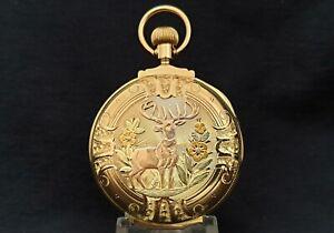 SuperB 14K solid gold multi color box hinge Elgin Pocket watch