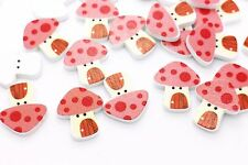 Mushroom House Wooden Button Cartoon Polka Dot Red Baby Children Wood Bead 20pcs