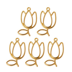 5X Tulips Flower Metal Frame Pendant Open Bezel Blank Setting UV Resin Jewelry