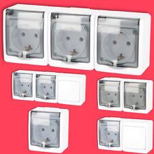 Aufputzsteckdose Feuchtraumsteckdose Lichtschalter Doppelsteckdose Steckdose