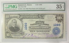 1902 $10 Large Size National Currency Biddeford Maine Pmg Certified Choice Vf35