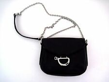 LAUREN RALPH LAUREN Black Leather Newbury Mini Shoulder Bag Chrome Hardware