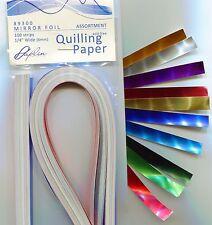 """Paplin Quilling Paper MIRROR FOILS 1/4"""" -10 Color Assortment Pk 100 pc NEW"""