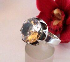 Big skandinavischer Bergkristall Ring Bengt Hallberg 925 Silber / cv 677