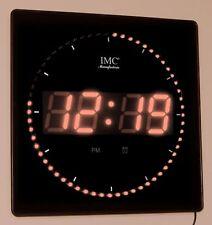 LED - Wanduhr mit Zahlen orange quadratisch digital Uhr Datum Temperatur Alarm S