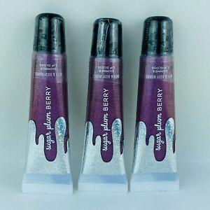 3-Pack Bath & Body Works Sugar Plum Berry Shimmer Lip Gloss 14 ml/0.47 ml Each