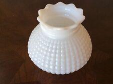 VINTAGE MILK GLASS HOBNAIL / CORN ROW RUFFLED TOP KEROSENE LAMP SHADE