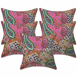 Ethnic Sofa Cushion Covers 40x40 cm Kantha Printed Cotton Paisley Pillow Cases