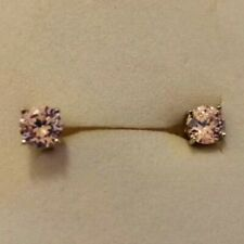 Sterling silver and pink topaz stud earrings