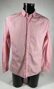 RAPHA Mens Gingham Check Long Sleeve Cycling Shirt Pink White Size Large