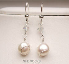 Freshwater pearl drop mariage boucles d'oreilles argent sterling et ab crystal handmade