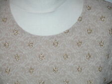 VINTAGE NUDE KNIT+GOLD GLITZ EMBROIDERED LINED TOP - 36""