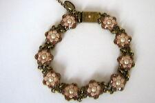 Michal Negrin Swarovski Flower Victorian Bracelet Beige & Amber Color 7.5 Inches