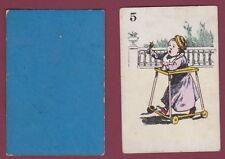 Carte à jouer ancienne XIXe - 301113 - 5 bébé hochet trotteur
