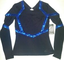 GTM Sportswear Cheerleader Dance Team Uniform Top Shirt Stretch Black Blue NEW