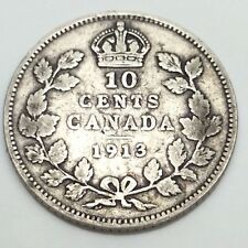 1913 Canada 10 Ten Cents Dime Circulated Canadian Coin D793