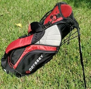 Odyssey Golf Cart Stand 9-Way Divider Bag. Black/Red/Gray w/Rain Cover