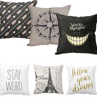 """18"""" Square Linen Cotton Throw Pillows Case Cushion Cover Home Sofa Bed Art Decor"""