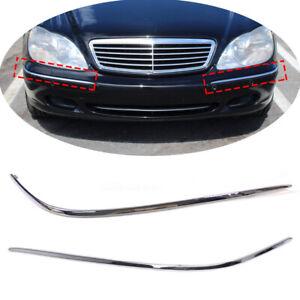 Pair Front Bumper Chrome Mouldings Trim Fit For Mercedes Benz S W220 2002-2005