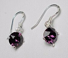 925 St silver earrings, made with 'amethyst' Swarovski crystals